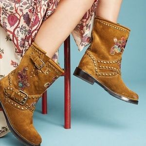 Anthropologie Frey Natalie Studded Engineer Boots